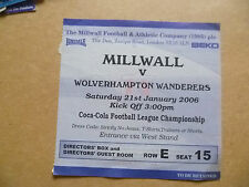 Ticket- 2006 MILLWALL v WOLVERHAMPTON WANDEREERS, League Championship, 21 Sept