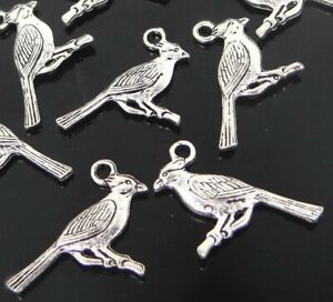 10 Bird Charms Antique Solver Blue JayAnimal Pendant 25x18mm