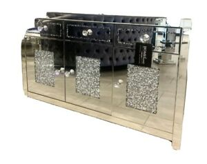 Contemporary Crushed Crystal Mirrored Sideboard, 3 Drawer 3 Doors …size 150m