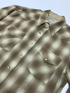 Vintage 70 Pendleton Shadow Plaid Wool  High Grade Western Wear Shirt Sz M