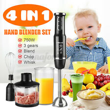 750W 4 IN 1 Hand Blender Mini Chopper Food Processor Electric Whisk 3 Gears
