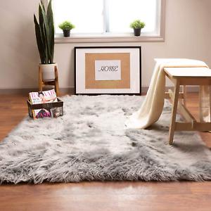 Super Area Rugs Soft Faux Sheepskin Fur Fluffy Area Rug, Gray, 8' x 10'
