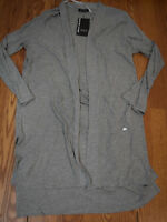NWT Womens DKNY JEANS Gray Long Open Front Knit Cardigan Size XL $98