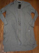 NWT Womens DKNY JEANS Gray Long Open Front Knit Cardigan Size L Large $98