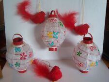 3 Vtg Dillard Chinese Lantern + 3 Red Feather Cardinal Bird Christmas Ornaments