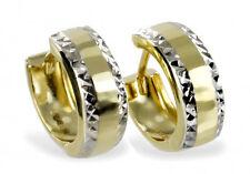 ECHT GOLD ** Creolen 13 mm Ohrringe bicolor diamantiert