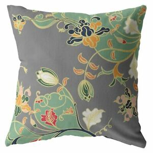Carnation Garden Double Sided Suede Pillow, Zippered, Orange Green on Gray