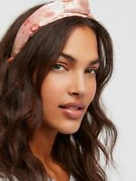 Free People Headband Pink Knotted Brocade Silky Floral Hair Accessory NWT