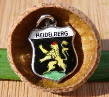 VINTAGE 800 SILVER enamel HEIDELBERG Germany shield CHARM (C-235)