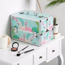 "Beautify Large Flamingo 14"" Train Case Cosmetic Makeup Organizer Storage Box"