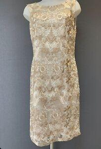 Beautiful gold Gina Bacconi Shift dress, BNWT, UK 16