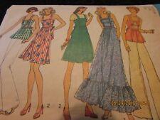 Vintage 70s Halter Tie Top Mini Dress Long Jumper 12 14 Simplicity 6986 Pattern