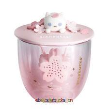 Starbucks 2020 China Pink Sakura Cherry Cute kitten 14oz Double Wall Glass Cup