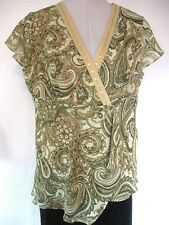 Notations Top Sz. Large Shades of Green Tan Floral Print Sequins Beads #226