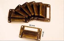 LOT 8 POIGNEE PORTE ETIQUETTE FER TIROIR CASIER  MEUBLE METIER CLASSEUR 66x39 mm