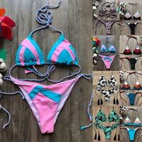 Damen Bikini Set Push-up Gepolsterter Bh Badeanzug Riemchen Schwimmanzug Bathing
