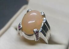 Natural Australian Big Fire Opal Sterling Silver 925 Handmade Opal Mens Ring