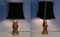 """CHIC PAIRE DE LAMPES EN LAITON DORÉ """" HIBOU """" GILT OWL LAMP design 60's -70's"""