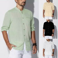 Men's Loose Casual Cotton Linen Beach Stand Collar Long Sleeve Shirt Tops LO