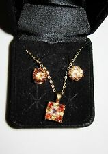 necklace Citrine gemstone Taupe color crystal & earring emerald cut jewelry Set