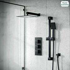 Matt Black Rainfall Shower with Thermostatic Control and Hand Held Kit | Temel