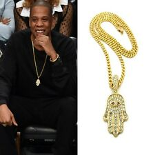 ICED OUT MINI HAMSA HAND EVIL EYE CUBAN LINK GOLD CHAIN PENDANT NECKLACE HIPHOP