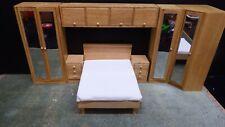 dolls house light oak double bed/mirror wardrobes/overhead unit/draws 1.12th