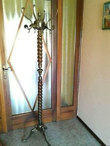 Vintage Brass Wood Garment Coat Rack Hat Tree Hall Tree