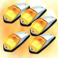 5 Amber Chrome 31 LED Cab Marker Lights For Peterbilt Kenworth Freightliner