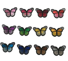 1 x Small Embroided Butterfly Assorted Colours Iron on Motif Patch Child adult
