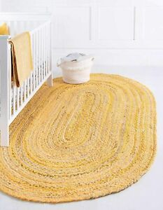 Rug Oval 100% Natural Cotton Floor Mat Braided Style Living Modern Area Rug