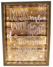Wooden Box Frame Light Up LED Slogan Plaque Love Sign 34x25cm ~ Kiss Me