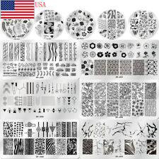 Nail Art Stamping Plates Flower Image Stamp Template Rectangle Round Shape Tips