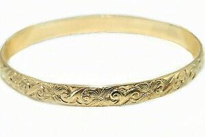 Vintage Hawaiian Floral Bangle Bracelets Real Gold Filled 1/20 14K / All sizes