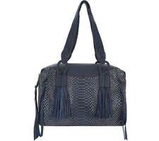 Aimee Kestenberg Genuine Leather Triple Entry Satchel -Cori Black Lizard NWT Bag