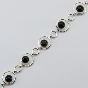 Natural and Genuine BLACK ONYX Bracelet with Extender on 925 STERLING SILVER #2