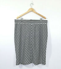 CITY CHIC Womens White Black Striped Lined Stretch Pencil Skirt Size L 20