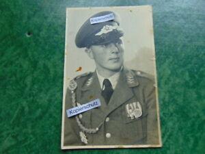 Altes Foto-Porträt-Soldat-Luftwaffe-Orden-Ordenspange-Spanien-Uniform-WW2