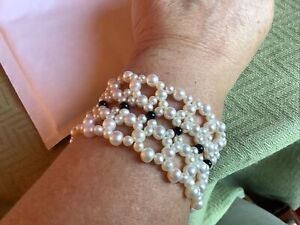 Cultured Pearl And Onyx Bead Cuff Bracelet