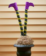 27.5x13 Purple Shoes Glittery Witches Legs Garden Pic Décor Metal Halloween NIP