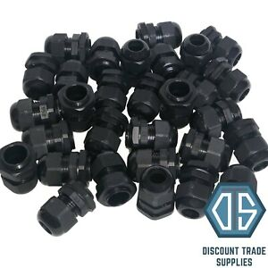 20mm Black Waterproof IP68 Compression TRS Cable Stuffing Gland Locknut M20
