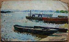 Russian Ukrainian Soviet Oil Painting Pointillism river boat impressionism