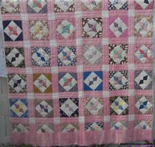 "Vintage Fabric Quilt Star Pattern 68"" x 82"" Hand Quilted"