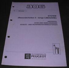 Werkstatthandbuch Peugeot 306 Besonderheiten 4-türige Limousine Sitze Hinterteil