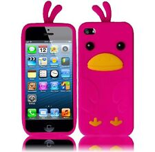 Apple iPhone 5 5S SE Rubber SILICONE Soft Skin Case Phone Cover Hot Pink Duck