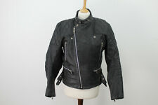 TT LEATHER Vintage Black Leather Biker Jacket size 40