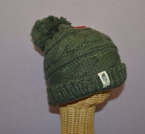 The North Face Unisex Oscar Green Triple Cable Knit Pom Pom Beanie Hat One Size