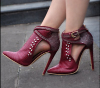 Womens Rivet Ankle Boots Buckle High Heel Stiletto Pointy Toe Party Shoes lady