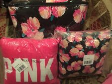 Victoria's Secret Pink Floral Reversible Comforter Size Twin W/matching Pillows