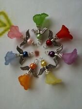 7 Pcs Belle Handcrafted Lucite Calla Lily Flower Angel Fairy Charms